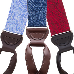 Large Paisley Silk Suspenders - Button All Colors