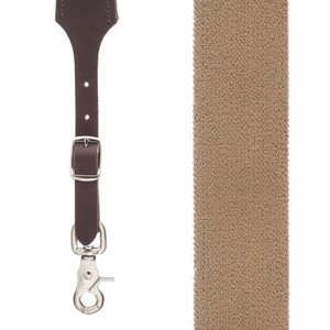 Rugged Comfort Trigger Snap Suspenders in DESERT - Front View
