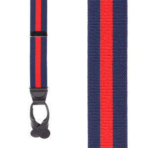 Front View - Navy/Red Striped Button Suspenders - 1.5 Inch Wide