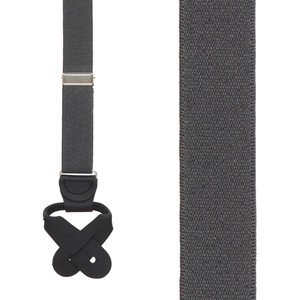 1-Inch Wide Button Suspenders in Dark Grey - Front View
