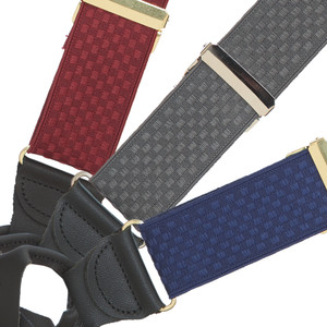 Jacquard Checkered Suspenders - Button All Colors Front View