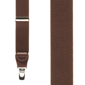 1.25 Inch Wide Y-Back Clip Suspenders in Brown - Front View