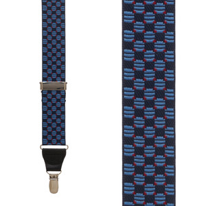 Front View - Navy Jacquard Tacoma Suspenders - Drop Clip