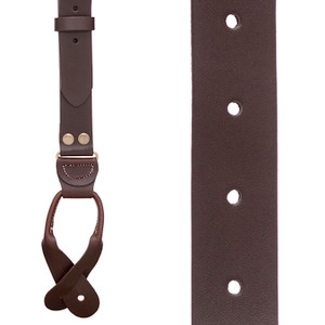 Brown Buckle Strap Leather Suspenders - Front View