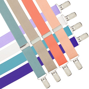 1 Inch Wide Fresh Hues Clip Y-Back Suspenders - Various Colors