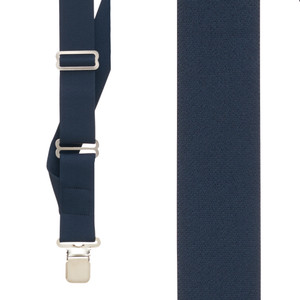 Navy Side Clip Suspenders, 1.5-Inch Wide - Construction Clip Front View