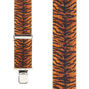 Tiger Print Suspenders Front View
