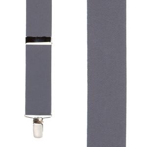 Front View - 1.5 Inch Wide Clip Suspenders - DARK GREY