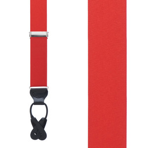 Grosgrain Button Suspenders - Red Front View