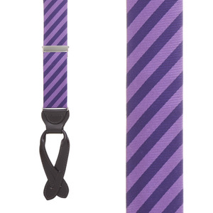 Purple Diagonal Stripe Silk Suspenders - Front