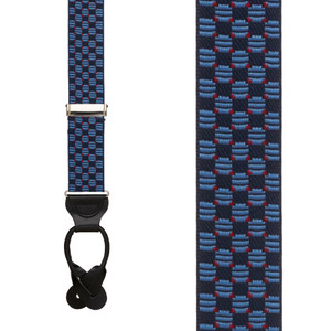 Navy Jacquard Tacoma Suspenders - BUTTON Front View