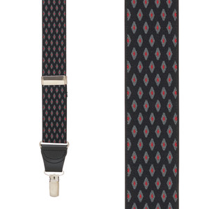 BLACK Jacquard Diamond Burst Suspenders - Clip Front View