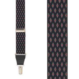 BLACK Jacquard Diamond Burst Suspenders - Clip Front View