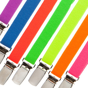 1/2 Inch Wide Skinny Neon Suspenders - All Colors