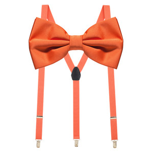 Bow Tie and Suspenders Set in Coral