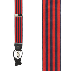 Equal Stripes Barathea Suspenders in Red/Navy - Front View