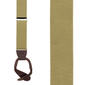 1.25 Inch Wide Button Suspenders in Tan - Front View