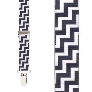 Black & White Zig Zag Suspenders - Front View