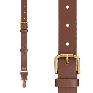 Buckle Strap 1 Inch Wide Leather Clip Suspenders in Brown - Front View