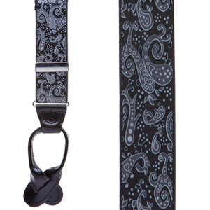 Black Paisley Suspenders - Front View