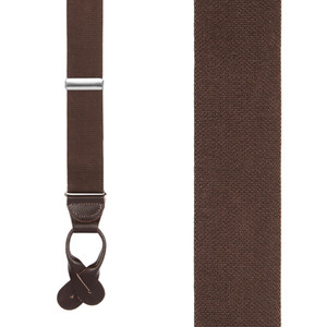 1.25 Inch Wide Button Suspenders in Brown - Front View