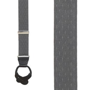 Grey Jacquard Suspenders - Petite Diamonds Button Front View