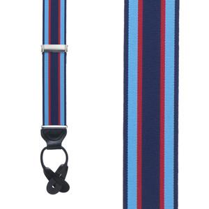 Grosgrain Button Suspenders - Navy Sky Red Stripe Front View