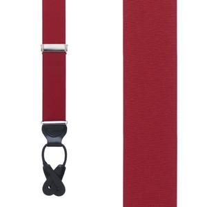 Grosgrain Button Suspenders in Dark Red - Front View