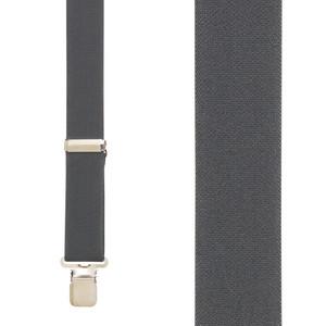 Front View - 1.5 Inch Wide Construction Clip Suspenders - DARK GREY