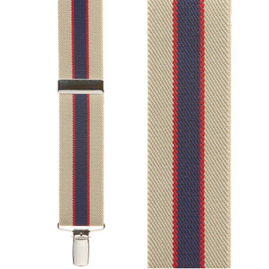 Striped Clip Suspenders in Khaki/Navy - Front View