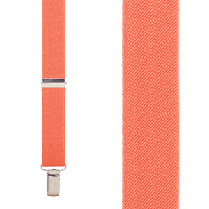 1-Inch Wide Clip Suspenders in Coral - Front View
