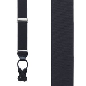 Grosgrain Button Suspenders - Black Front View
