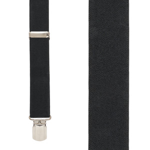 Front View - 1.5 Inch Wide Pin Clip Suspenders - BLACK