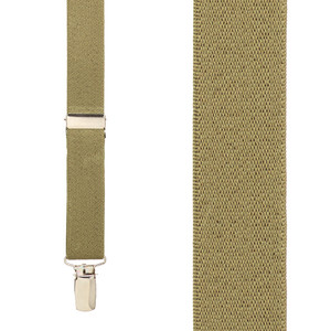 1 Inch Wide Clip Y-Back Suspenders in Tan - Front View