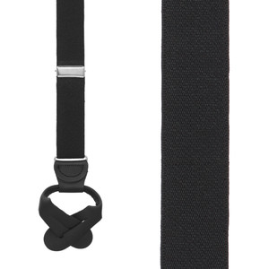1 Inch Wide Button Suspenders in Black - Front View