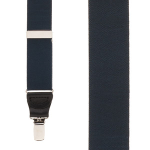 1.25 Inch Wide Y-Back Clip Suspenders in Navy Blue - Front View