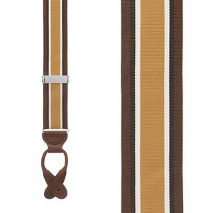 Grosgrain Button Suspenders - Brown Stripe Front View