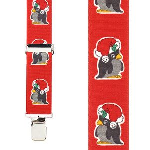 Penguin Christmas Suspenders - Front View