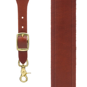Plain w/Crease Handcrafted Western Leather Suspenders in Brown - Front View