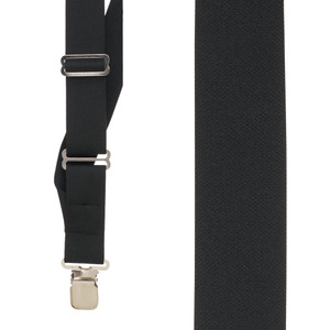 Black Side Clip Suspenders, 1.5-Inch Wide - Construction Clip Front View