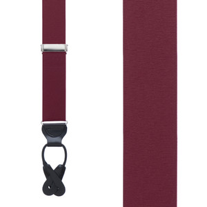 Grosgrain Button Suspenders in Burgundy - Front View