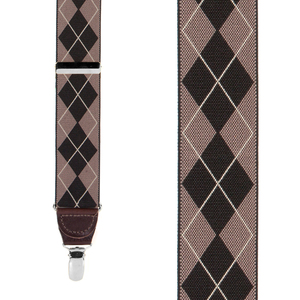 Argyle Suspenders in Brown - Front View