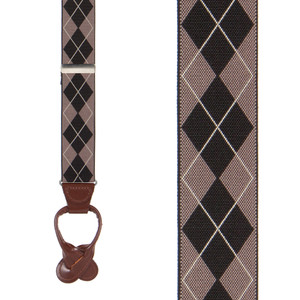 Argyle Button Suspenders in Brown - Front View
