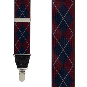 Argyle Suspenders in Burgundy - Front View