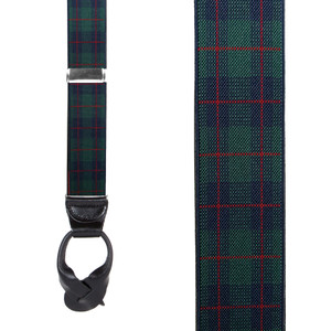 1.5 Inch Wide Plaid Button Suspenders in Green - Front View