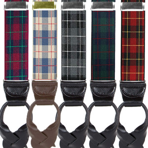 1.5 Inch Wide Plaid Button Suspenders - All Colors