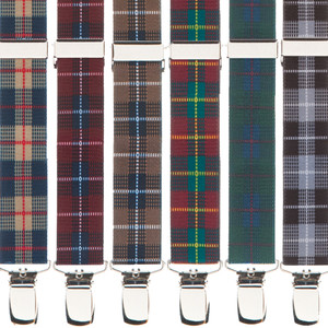 1-Inch Wide Plaid Clip Suspenders - All Colors