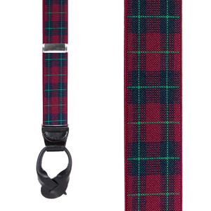 1.5-Inch Wide Plaid Button Suspenders in Burgundy - Front View