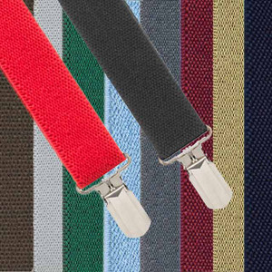 1 Inch Wide Solid Pin Clip Suspenders - All Colors