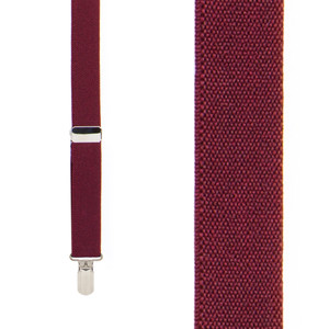 1-Inch Wide Pin Clip Suspenders in Burgundy - Front View